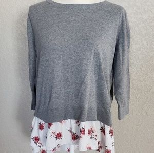 Loft sweater with overlay shirt